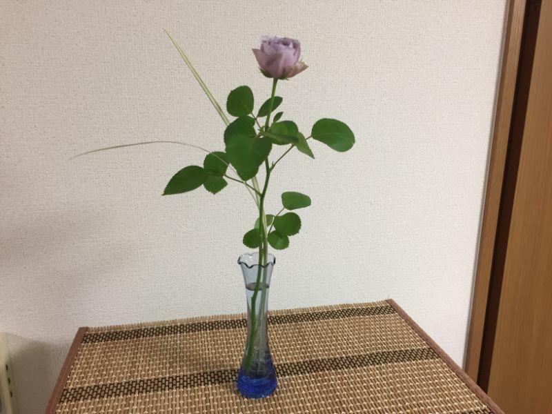 紫のミニバラ、ミスカンサスを添えて一輪挿し