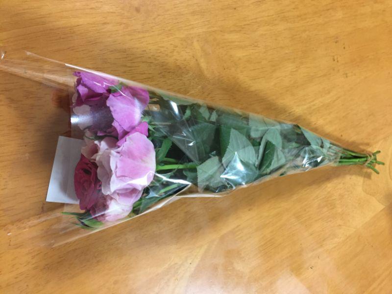 10本でパックになったミニバラの切り花